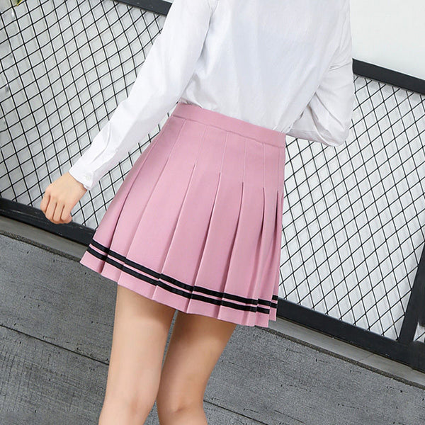 Pleated Accent Stripe Skirt