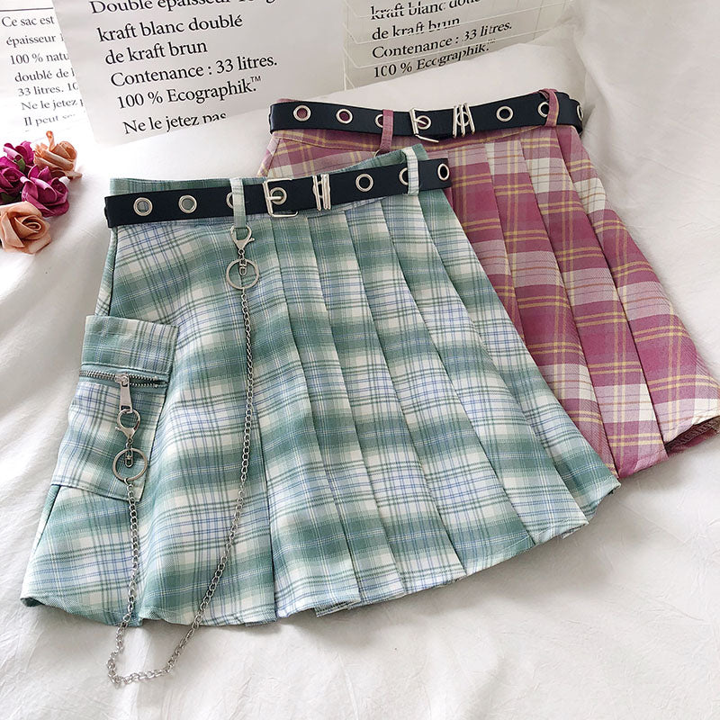 Pleated Plaid Combat Skirt