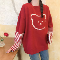 Striped-sleeve Bear Sweater