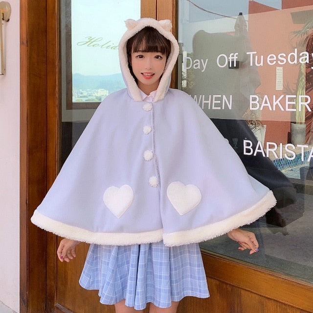Kawaii Fleece Hooded Cape