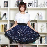 Kawaii Mori Girl Sweet Starry Night Skirt | Mochipan
