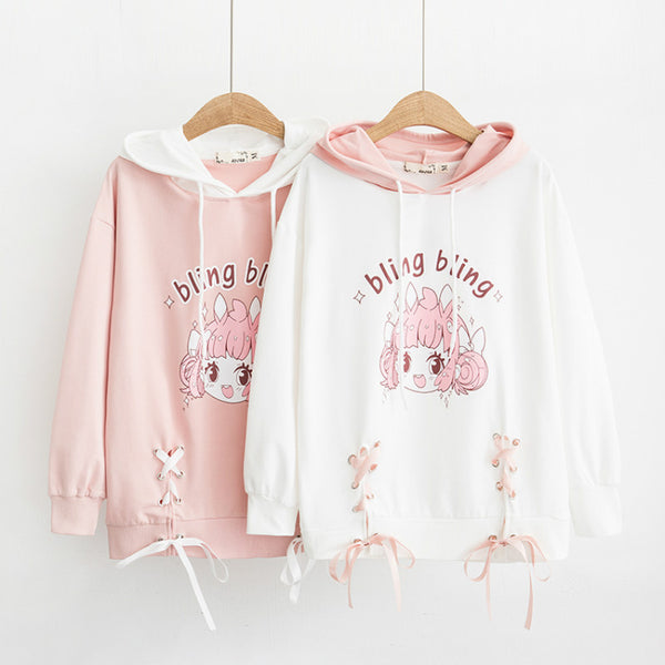 Kawaii Laced-Up Anime Sweater | Mochipan