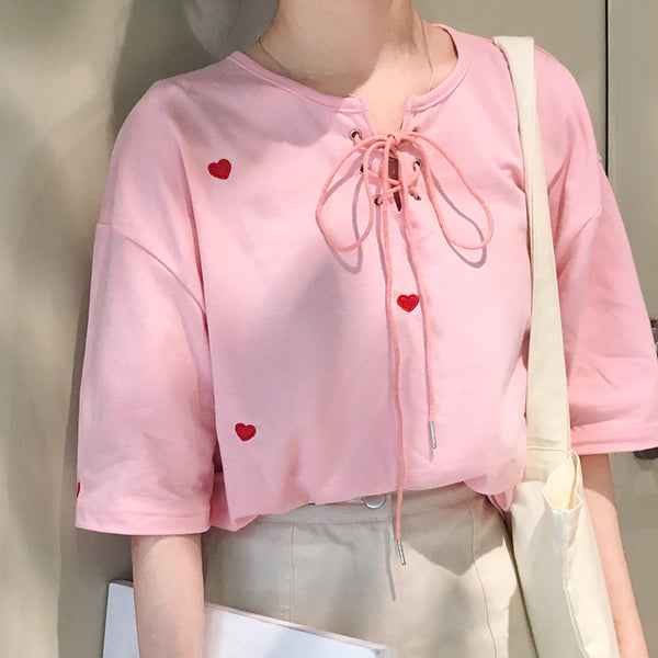 Red Heart Embroidered Shirt-Mochipan