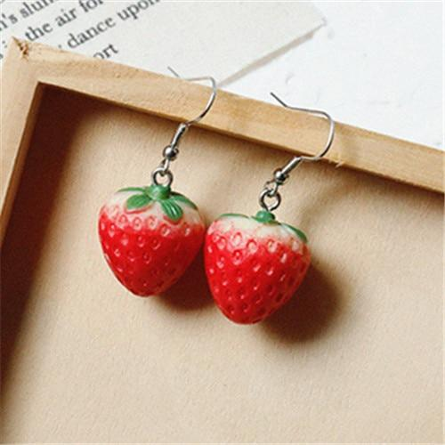Strawberry Earrings-Mochipan