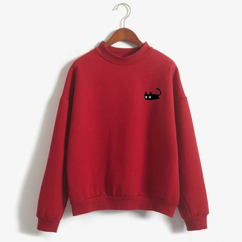 Kawaii Black Cat Sweater-Mochipan