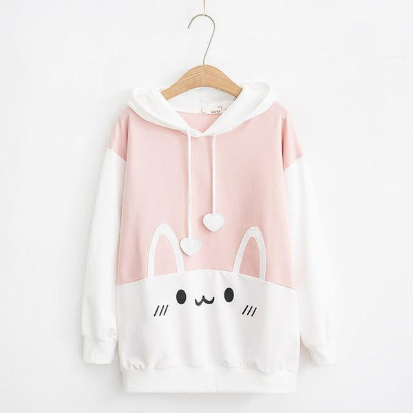 Cute Inverted Color Rabbit Hoodie | Mochipan