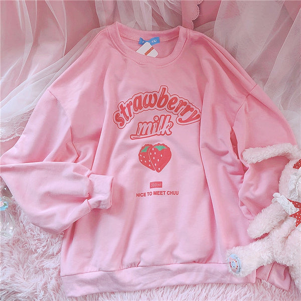 Lantern Sleeve Strawberry Milk Sweater-Mochipan