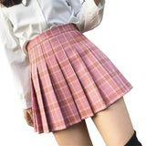 High Waist Plaid Harajuku Skirt-Mochipan