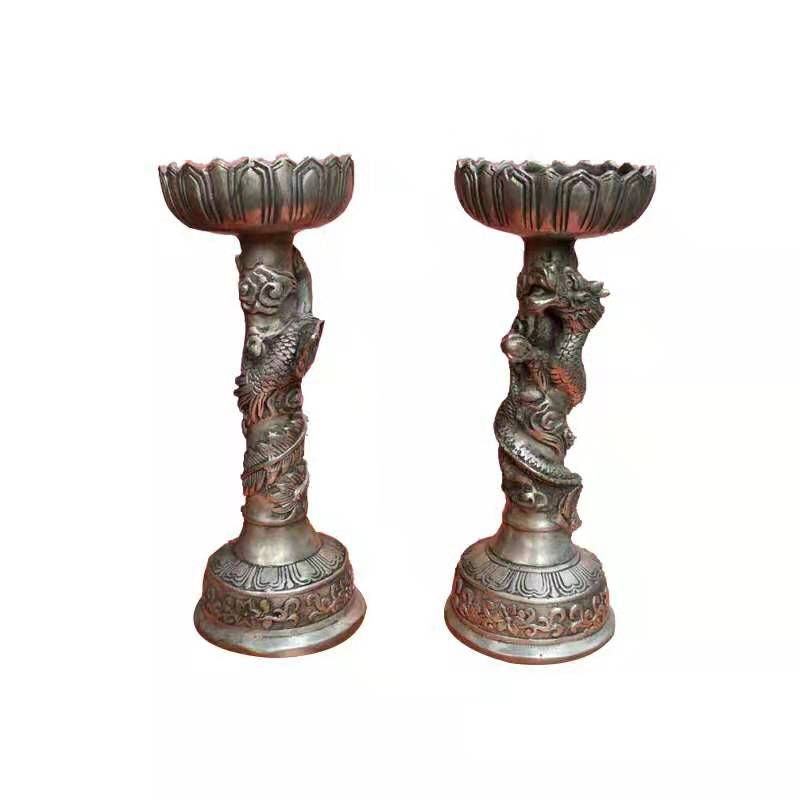 Bronze Silver Candle Sticks (1 pair)