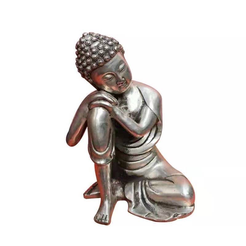 Bronze Silver Plated Resting Buddha