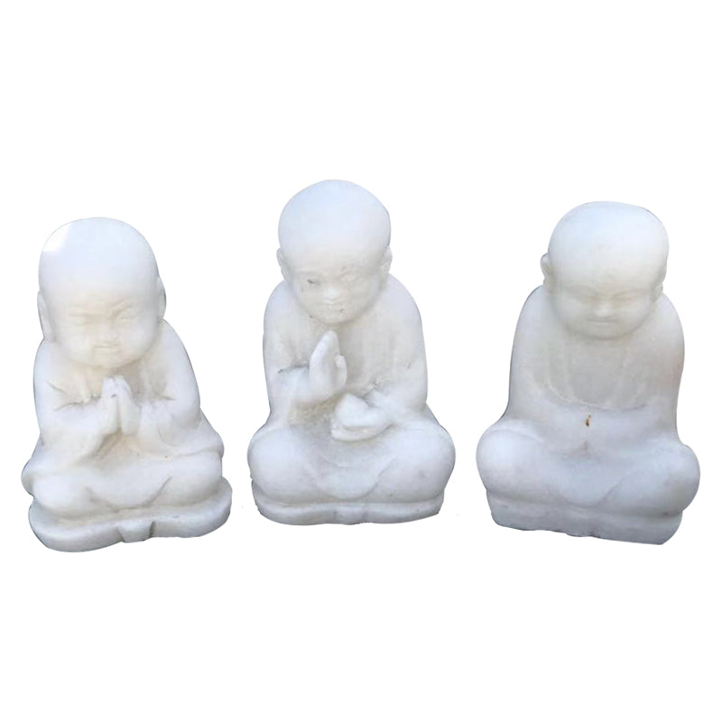 Carved Marble Buddha (Set of 3)