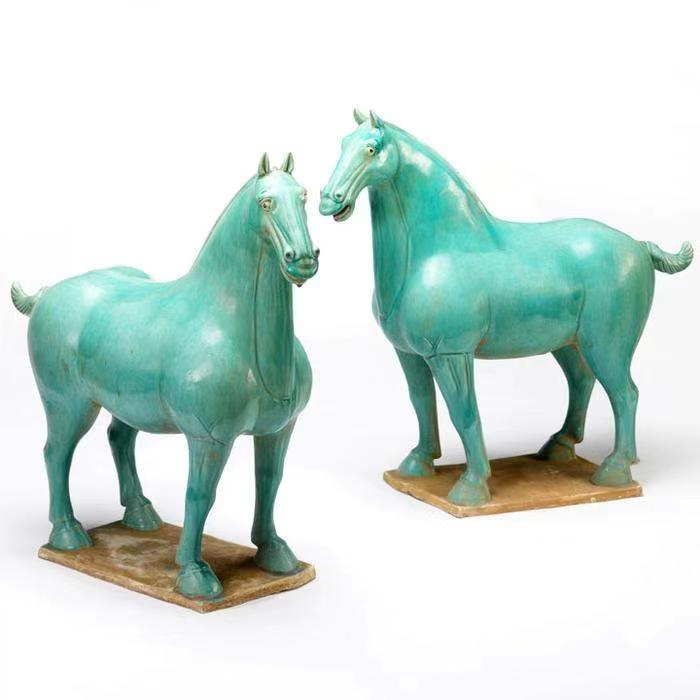 Porcelain Horses with Turquoise Finish