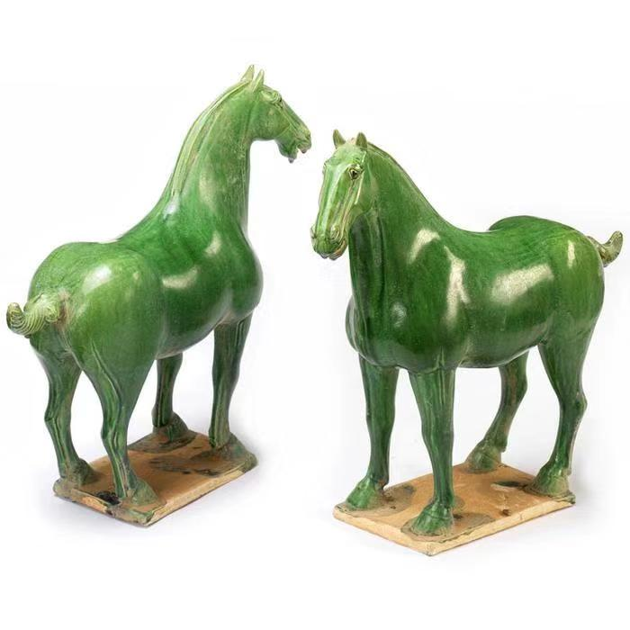 Porcelain Horses With Jade Green Finish