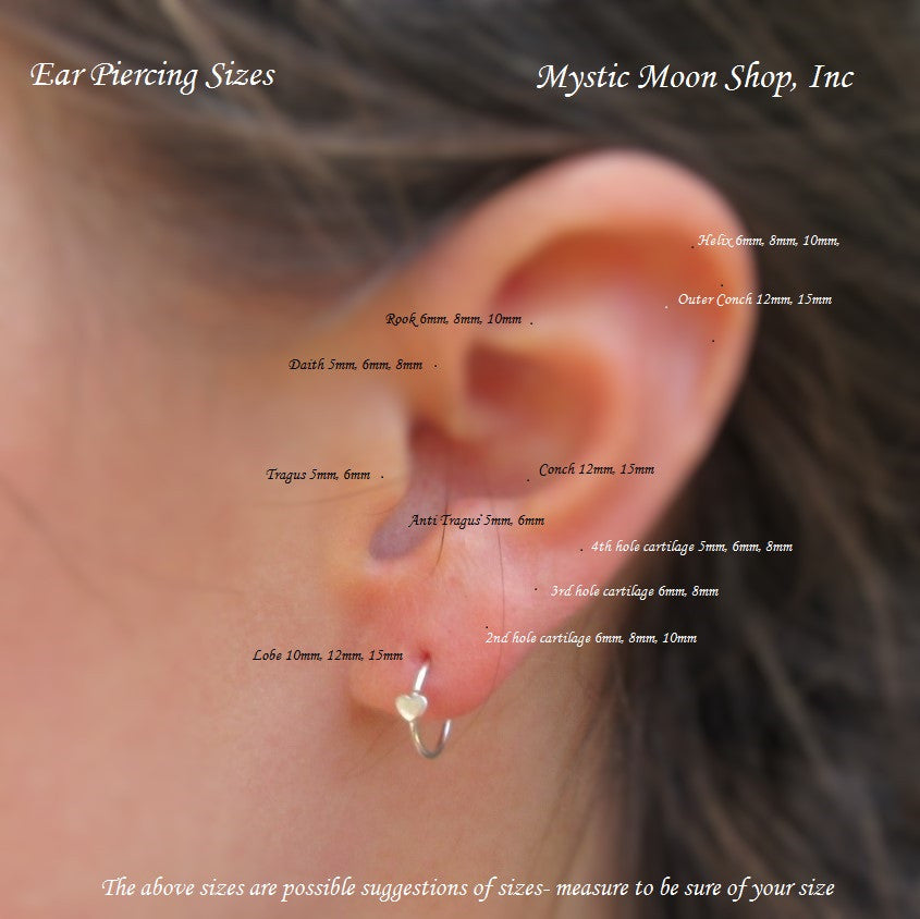 Sizing Chart for Tiny Hoop Earrings l Mystic Moon Shop, Inc for ...
