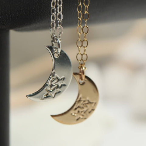 Three Stars Crescent Moon Necklace