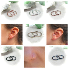 endless hoop earrings in gold, silver, pink gold, gunmetal