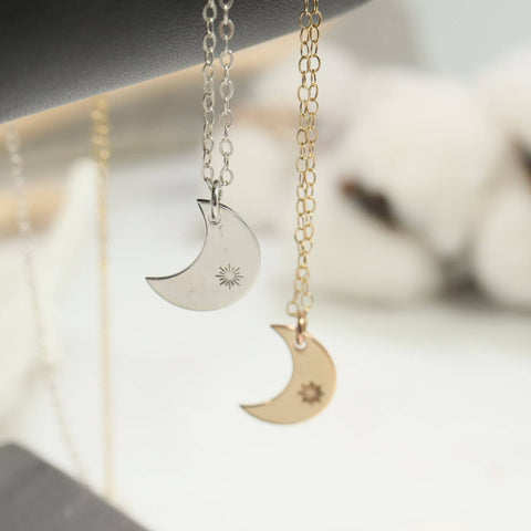 star burst crescent moon necklace