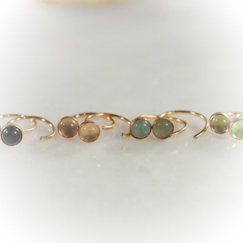 gemstone no twist hoop earrings