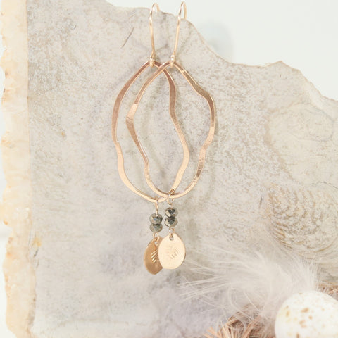 gold with pyrite gemstone earrings