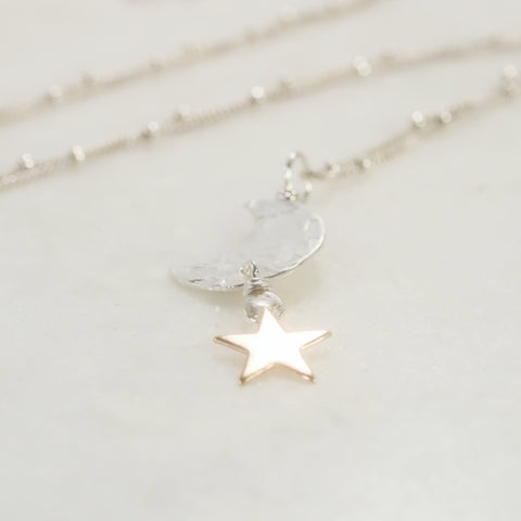 crescent moon necklace with gold star
