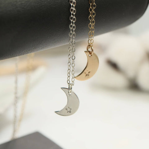 crescent moon with tiny star necklace