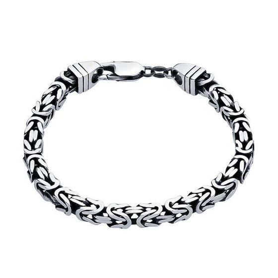 square byzantine mens bracelet in sterling silver