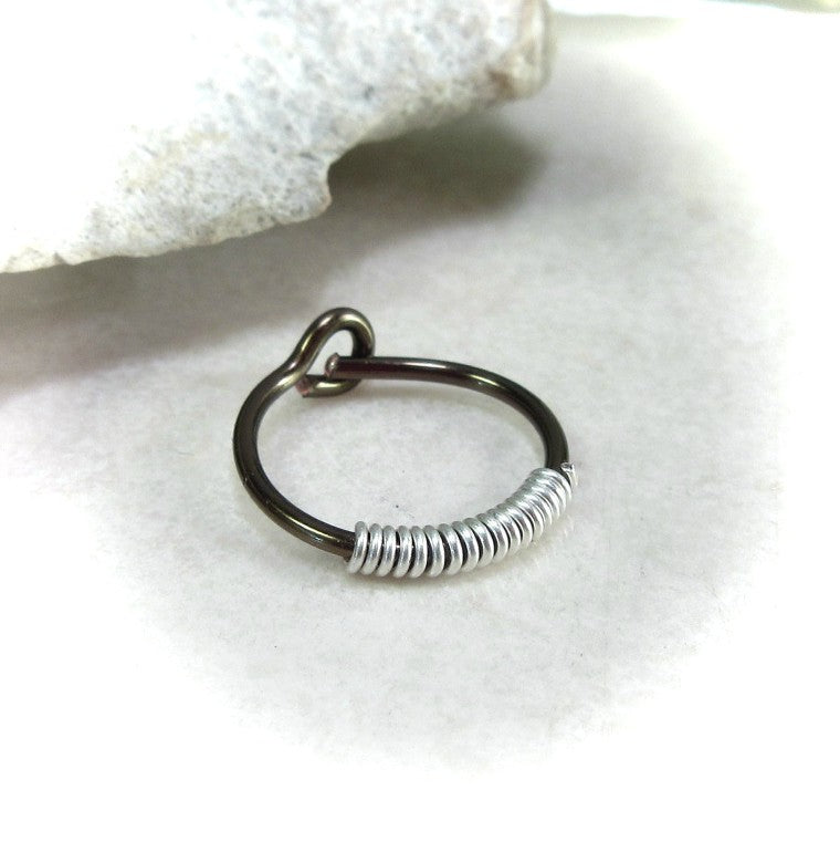 gunmetal hoop earring for men