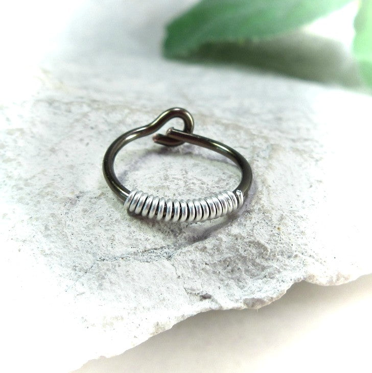 gunmetal with silver mens hoop earring