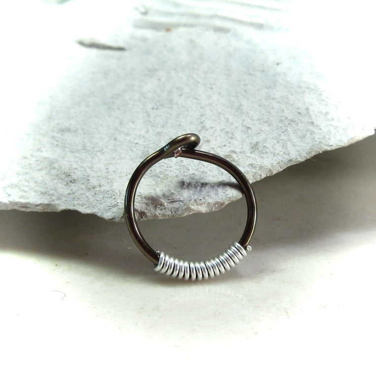 gunmetal with wrap accent hoop earring for men