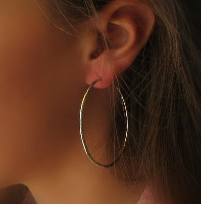 silver cross cut hoop earrings with post back