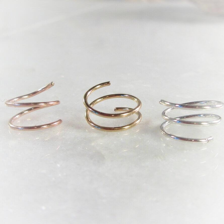 Nose Ring Double Endless Choose Your Gauge Diameter And Metal