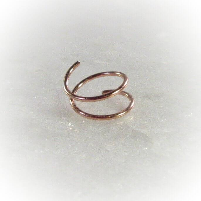 pink gold double nose ring