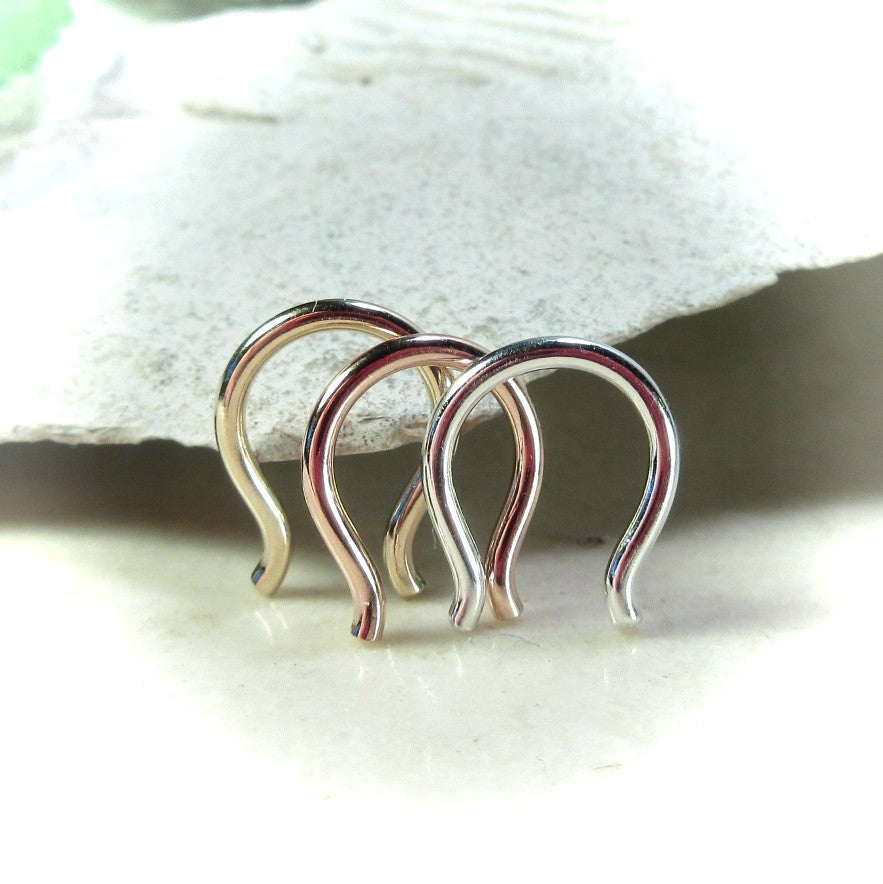 three 16 gauge septum retainers flared