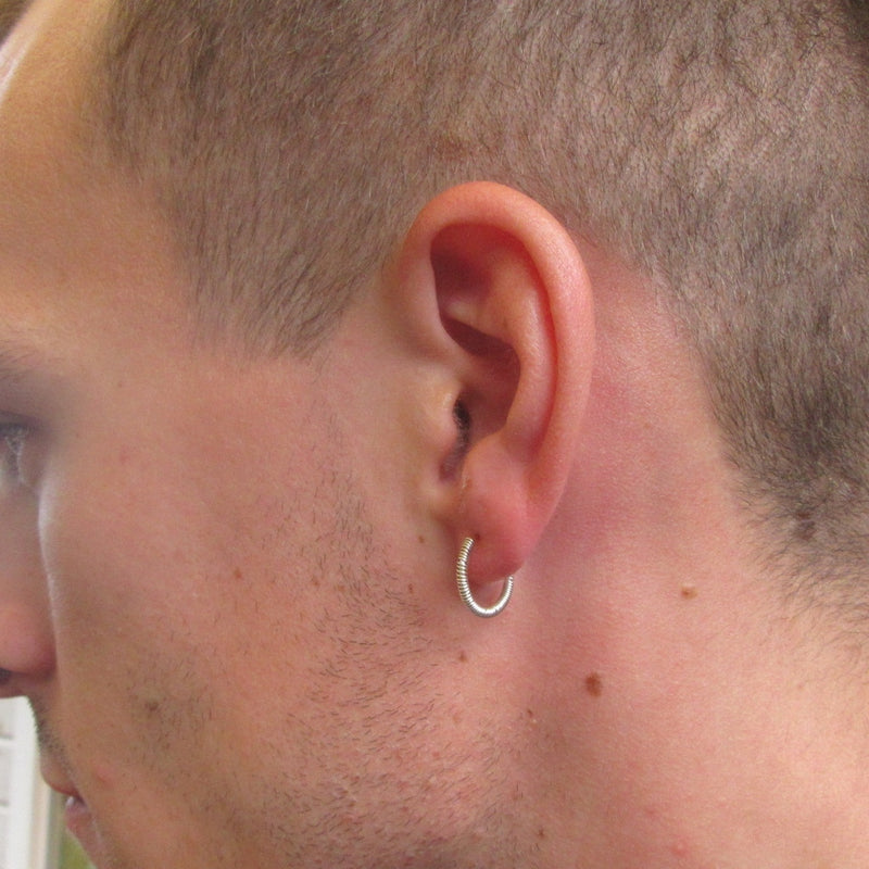 Full Wrap Mens Hoop Earrings Pair Choose Your Size and Metal