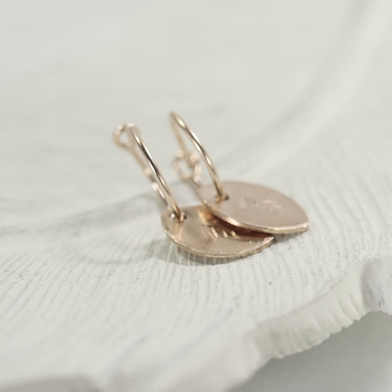 tiny hoop dangle earrings in gold