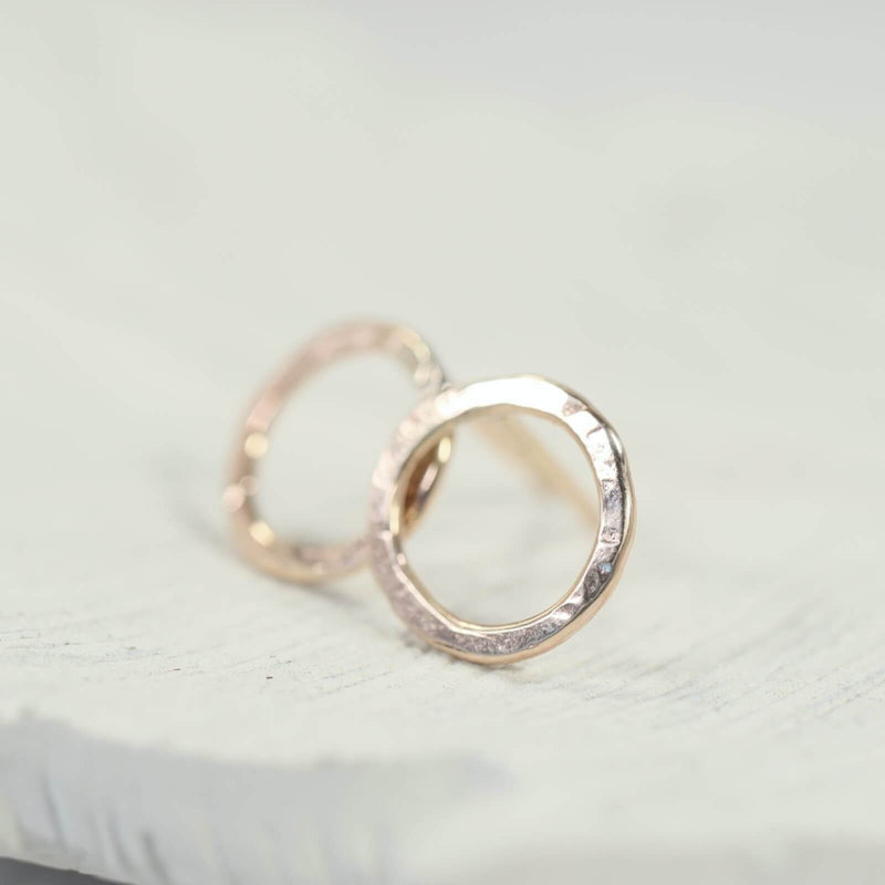 hammered circle stud earrings pink gold
