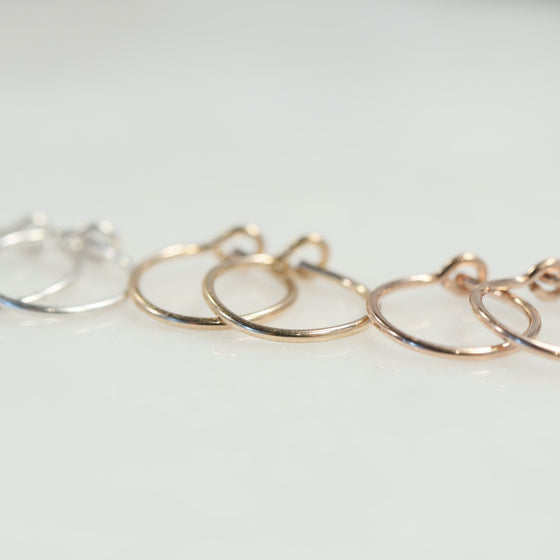 tiny hoop earrings plain silver, gold, pink gold