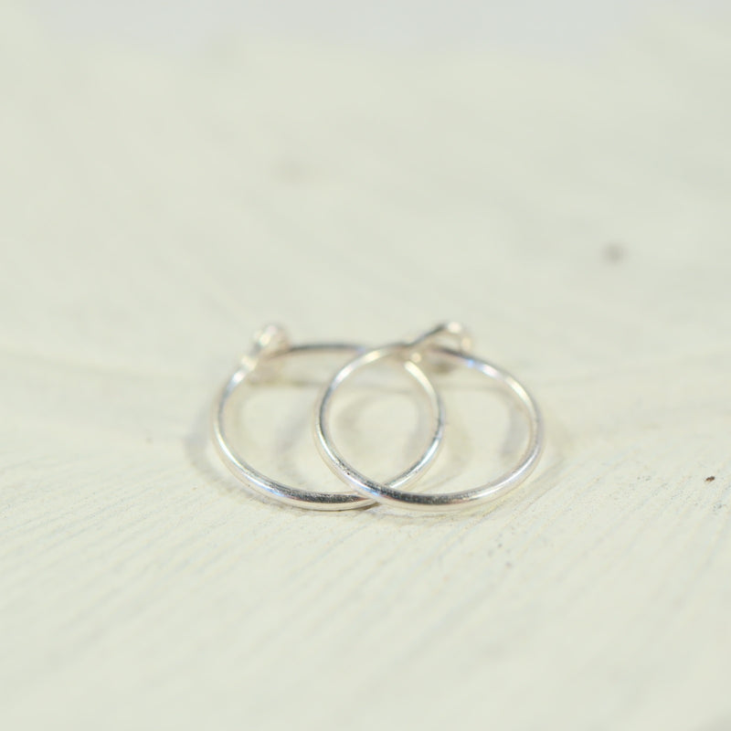 tiny hoop earrings plain silver