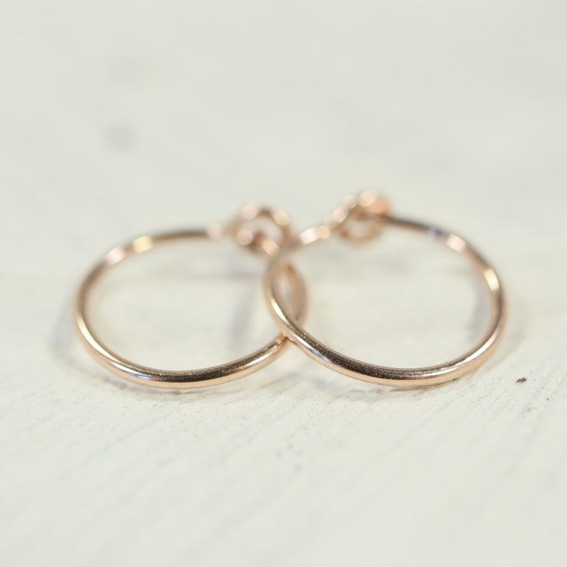 tiny hoop earrings plain pink gold