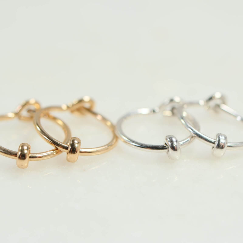 band bead tiny hoop earrings gold, silver