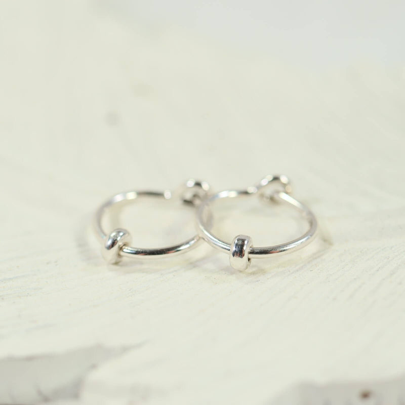 band bead tiny hoop earrings silver