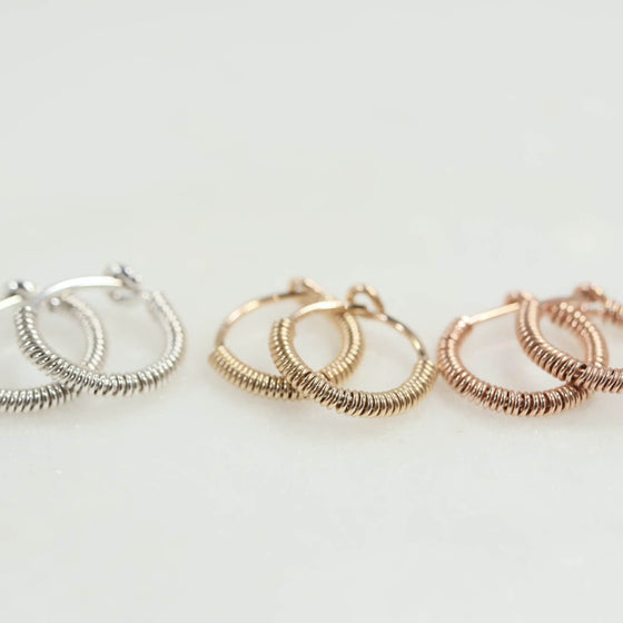 Tiny hoop earrings full wrap silver, gold, pink gold