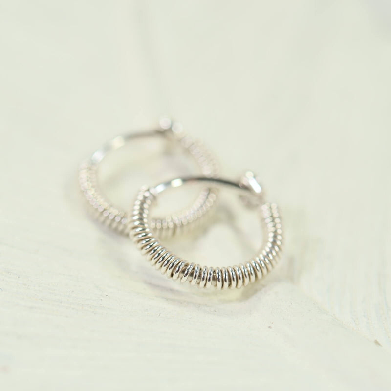 tiny hoop earrings full wrap silver