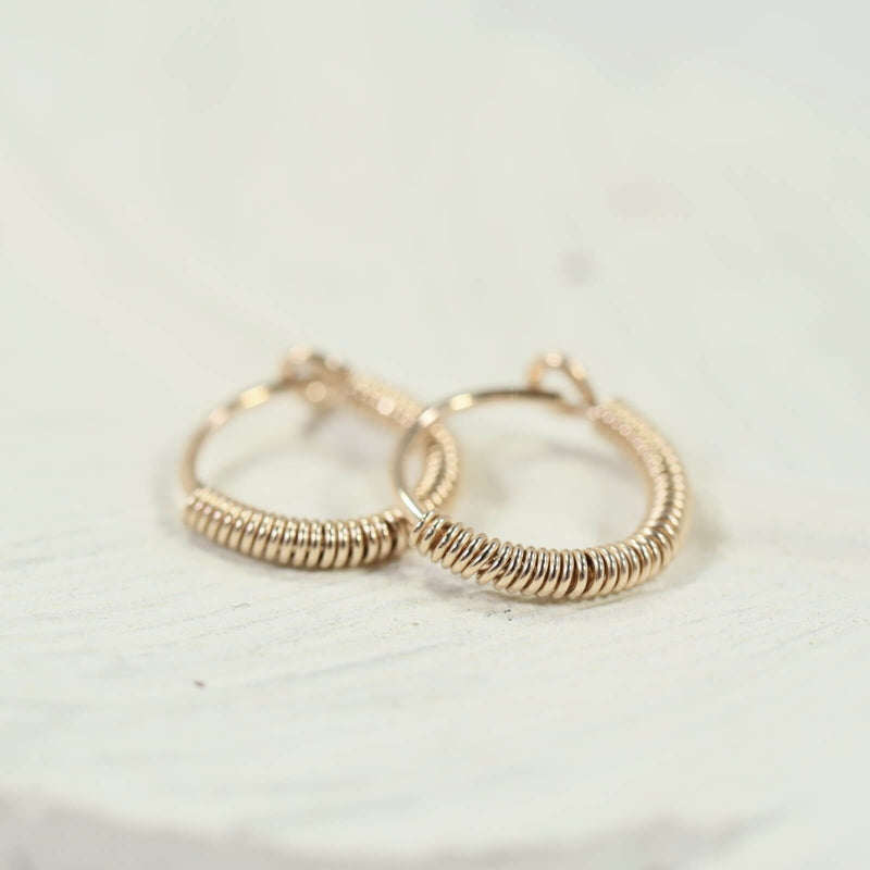 tiny hoop earrings full wrap gold