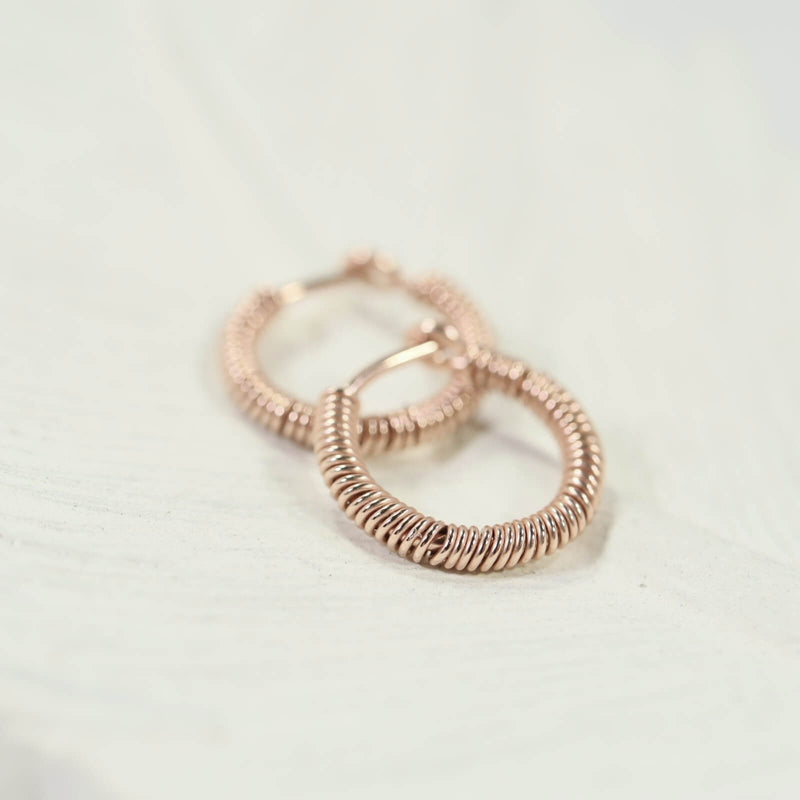 tiny hoop earrings full wrap pink gold