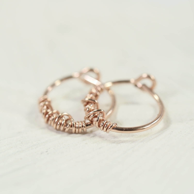 tiny tangled hoop earrings in pink gold