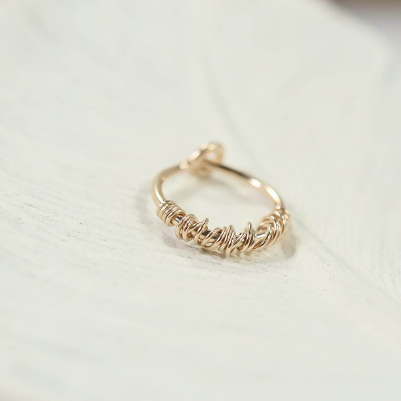 cartilage hoop earring gold single tangled