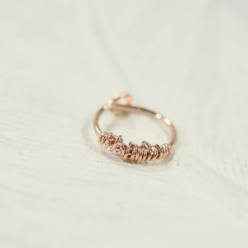 cartilage hoop earring pink gold single tangled