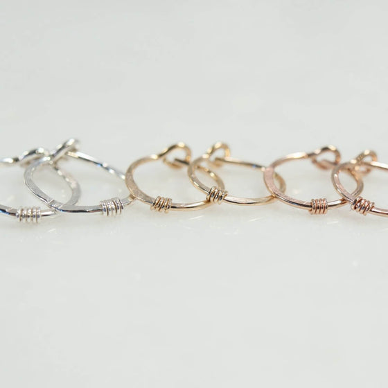 hammered & wrapped tiny hoop earrings silver, gold, pink gold