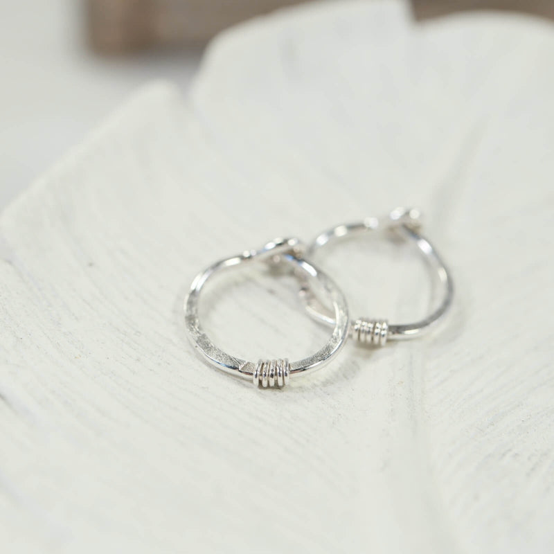 hammered & wrapped tiny hoop earring silver